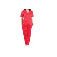 Pantaloni costum medical unisex culoare rosu