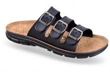 Papuci ortopedici cu trei barete si branturi anatomice din piele