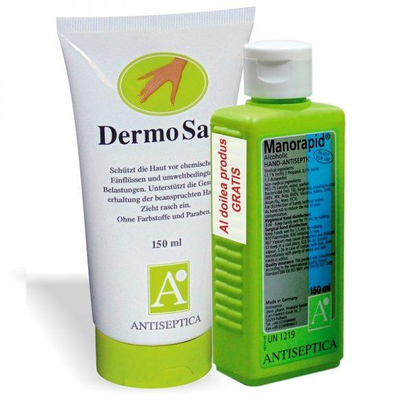 Dermo safe crema parfumata pentru maini uscate sau crapate + dezinfectant Manorapid Cadou