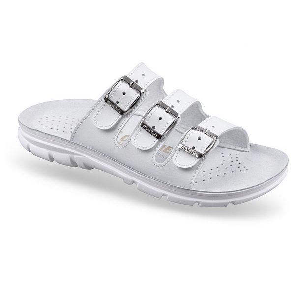 Papuci ortopedici cu trei barete si branturi anatomice din piele, albi