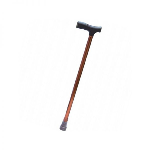 Baston ortopedic, aluminiu bronz, maner lemn