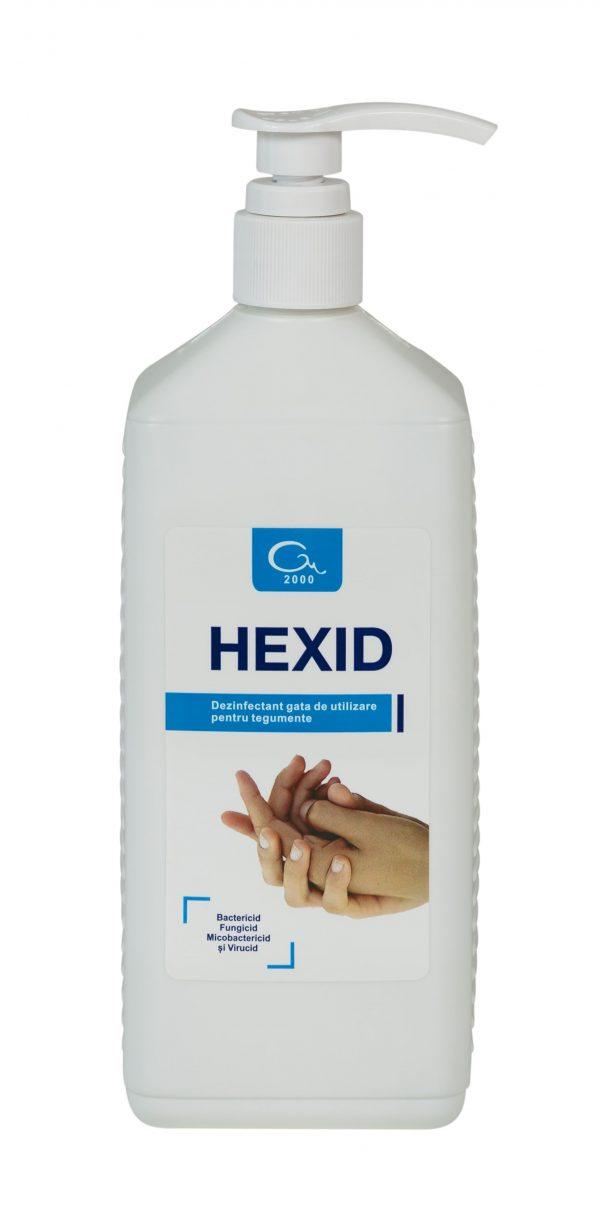 Hexid dezinfectant cu dozator pentru maini si tegumente, 1litru