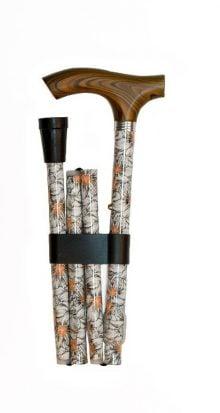 Baston ortopedic din aluminiu, pliabil cu imprimeu floral