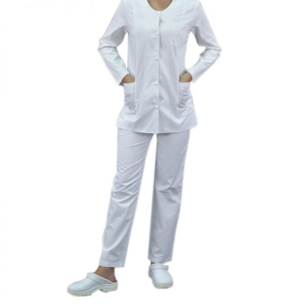 Pantaloni costum medical, betelie, tercot, alb