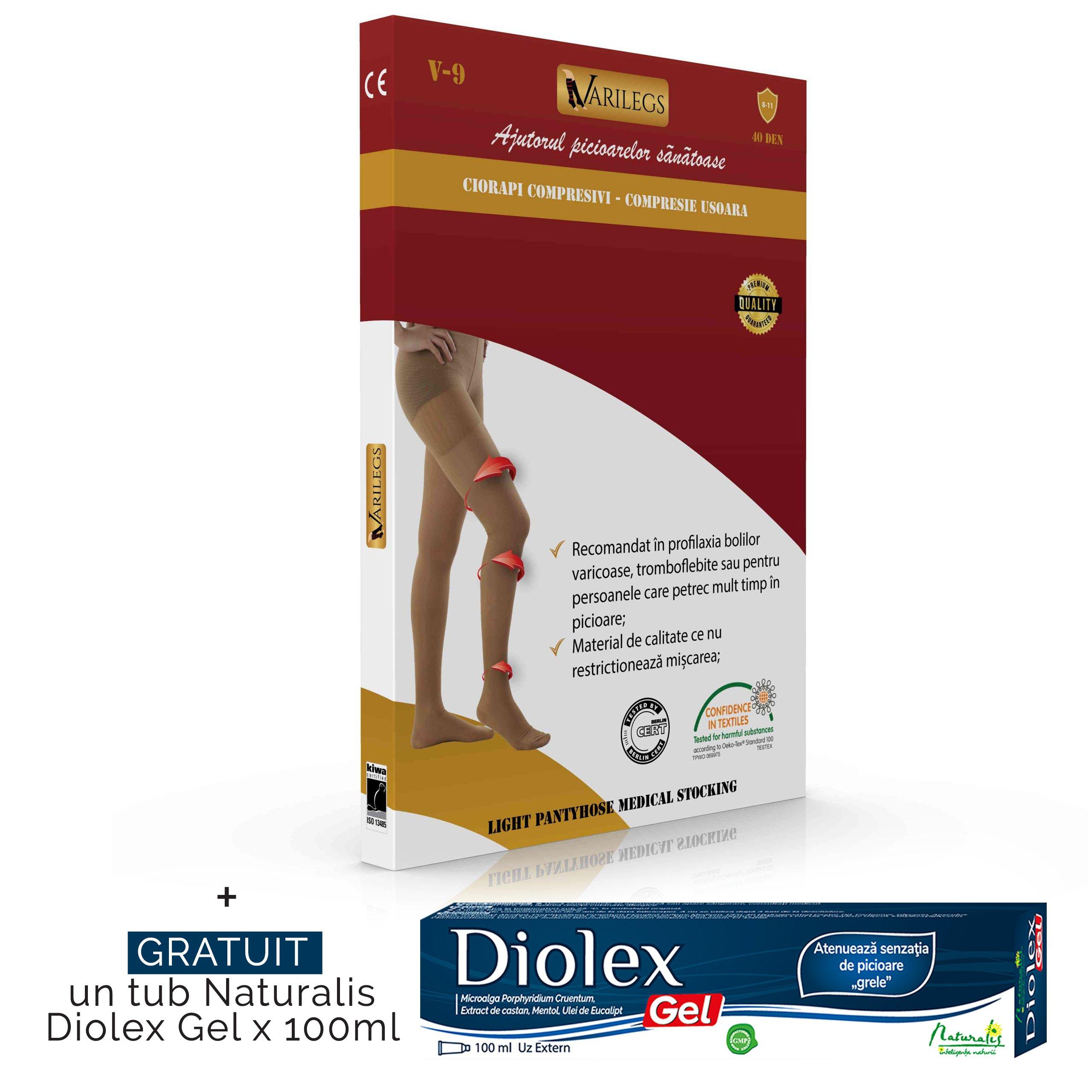 Ciorapi compresivi medicali tip dres Varilegs (8-11 MmHg), bej