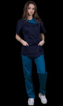 Halat medical cu maneca scurta Clara albastru