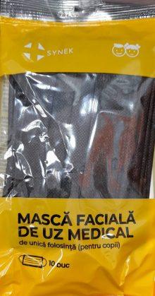 Masca faciala de uz medical pentru copii, culoare: alb si negru